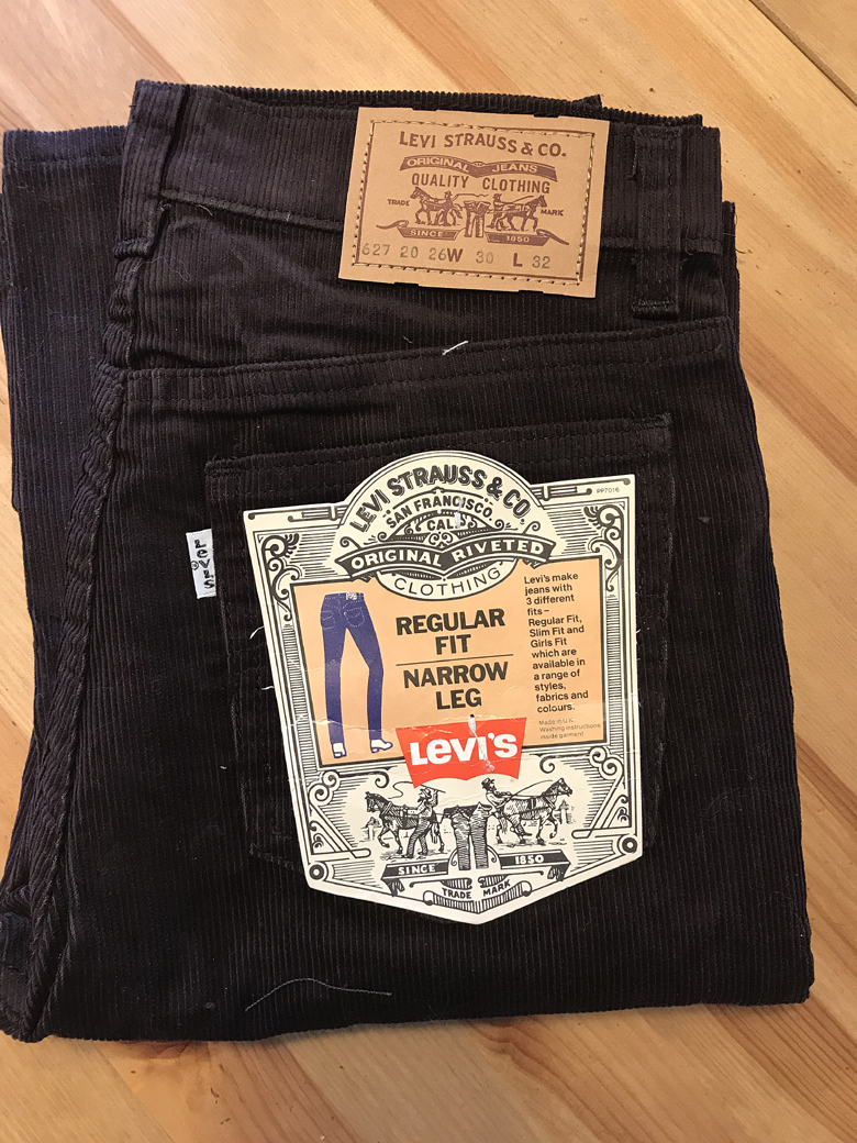 (1983-1985) Levi's® 627 White Tab™ вельвет. Made in UK